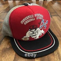 Vtg 80s Georgia Bulldogs Trucker Snapback Hat Cap Old Stock Unused RARE