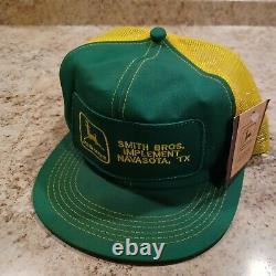 Vtg 80s K Products John Deere Big Patch Snapback Trucker Hat Cap Smith Bros. NWT