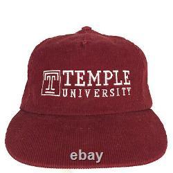 Vtg 80s Temple University Hat Spell Out Script Corduroy USA Snapback Trucker Cap
