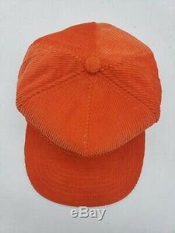 Vtg 90s OJ Simpson Hacker Open Corduroy Orange Strapback Trucker Hat Cap Golf