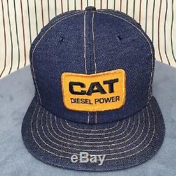 Vtg Caterpillar CAT Patch Snapback Trucker Hat Denim Louisville MFG USA Farm Cap