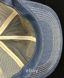 Vtg Champion Motor Graders Mesh Trucker Hat Snapback Patch Denim Cap K Brand USA