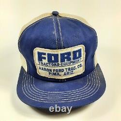 Vtg Ford Tractors Snapback Cap Trucker Hat Mesh Patch K Products USA Arizona