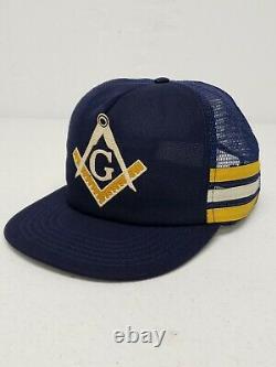 Vtg Free Masons 3 Three Stripe Mesh Trucker Snapback Hat Made In The USA Cap