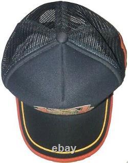 Vtg Harley Davidson 3 Three Stripe Snapback Trucker Hat Cap Eagle RARE! EUC