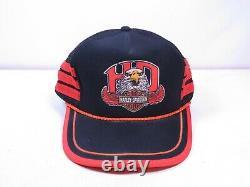 Vtg Harley Davidson Snapback Trucker Hat Cap 3 Three Stripes Eagle Rare USA