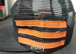 Vtg Harley Davidson Sturgis Mesh 3 Stripe Snapback Trucker Hat USA Made Cap RARE