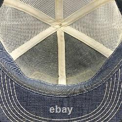 Vtg KENT Pick Pork Feed Grain K-Brand Denim Patch Snapback Trucker Cap Hat