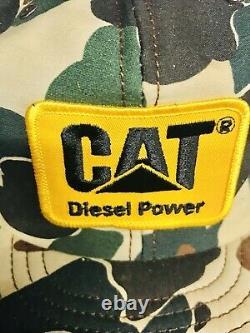 Vtg LOUISVILLE MFG USA TAGS Trucker Hat Snapback Cap Camo Cat Diesel Power Patch