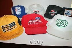 Vtg Lot of 10 Snapback Trucker Mesh Hat Cap Oil Gas Farm Denim Ford CAT Fudpucke