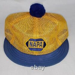 Vtg Napa Louisville Kentucky Short Bill Puff Ball Snapback Trucker Hat Cap Patch