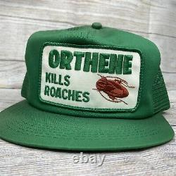 Vtg Orthene Trucker Hat Cap SnapBack Patch Kills Roaches KBRAND USA Exterminator