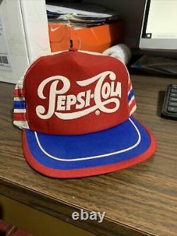 Vtg PEPSI-COLA 3 Stripe Red White Blue Snapback Trucker Hat Cap