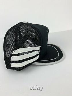 Vtg Trucker Hat 3 Stripes Playboy Mesh Cap Black Snapback Black White Foam