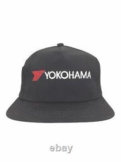 Vtg Yokohama Tires Hat Racing Logo K-Products USA Snap Back Baseball Trucker Cap