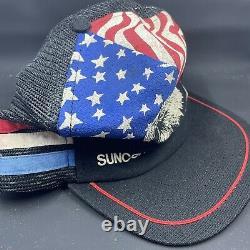 Vtg eagle american flag snapback trucker hat cap 80s usa rare
