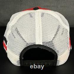 Vtg trucker hat MOTORCRAFT Three Stripe Mesh Snapback Trucker Cap withBent Bill