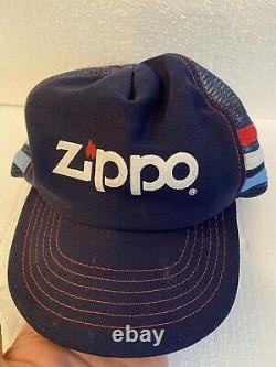 Zippo Made In USA Vintage Trucker Snapback Hat Cap Adjustable Blue 3 Line Htf