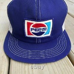 2 Vintage K-marque Pepsi Snapback Chapeau De Camionneur Soda Pop Cola Paire Lot 70 Logo