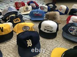 43 Vintage All Made In USA Snapback Trucker Hat Cap Lot