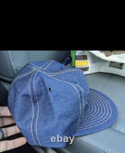 Ashland Oil Patch Snapback Denim Louisville Mfg Trucker Hat Vtg USA Farm Cap