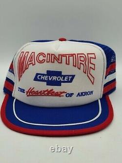 Casquette Pour Camionneur Akron Chevrolet 3 Stripe Vintage 80's Fabriqué Aux États-unis, Nos