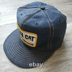 Cat Hr Holt Refakis Denim Patch Cap Snapback Trucker Farm Hat Vintage Euc Nice