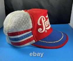 Chapeau Pepsi Cola Trucker Red White Blue 3 Stripe Made In USA Vintage Retro