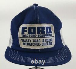 Ford Tractor Vintage Hat 80's Snapback Trucker Mesh Mousse Patch K Marque Cap Euc