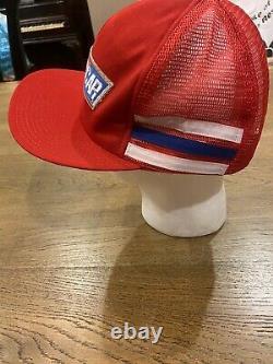 Nascar Vtg Red Mesh 3 Stripe Snapback Chapeau De Camionneur Rare Fabriqué Aux États-unis. Tn