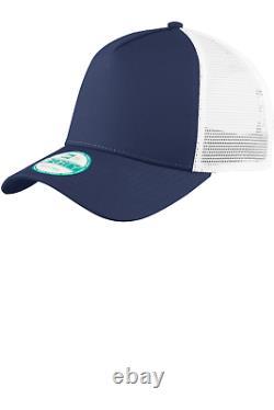 New Era 9forty Trucker Ajustable Snapback Mesh Back Hat Deep Navy White Cap 940