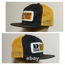 Nos 80s Caterpillar Cat K Brand Trucker Hat Patch Cap Farm Ag Mesh 2 Tone Vtg