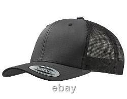 Nouveau Black Grey Flexfit Mesh Snapback Cap Plain Baseball Trucker Golf Era Peak Hat