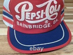 Rare Chapeau De Camionneur Ancien Pepsi-cola Bainbridge, Ga 3 Stripe Snapback
