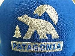Rare Patagonie Ours Lune Casquettes De Style Chapeau Blanc / Bleu Snapback