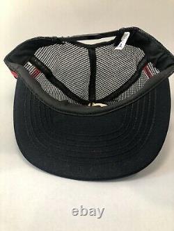 Rare Vintage Black Motorcraft 3 Stripe Trucker Hat Cap Snapback Made USA Lire
