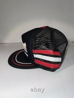 Rare Vintage Black Motorcraft 3 Stripe Trucker Hat Cap Snapback Made Us Flawless