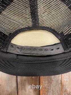 Rare Vintage Black Motorcraft 3 Stripe Trucker Hat Snapback Cap Made USA Nice