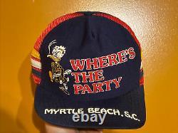 Rare Vintage Daffy Duck Myrtle Beach 3 Stripe Trucker Chapeau Snapback Cap Fabriqué Aux États-unis