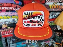 Rare Vintage Dale Jarrett Nascar Patch 3 Stripe Trucker Mesh Chapeau Snapback