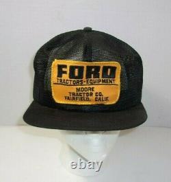 Rare! Vintage Ford Tracteurs Moore Co. Fairfield Ca Ferme De Camionneur Cap Wow