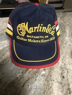 Rare Vintage Made In USA 3 Stripe Camionneur Cap Snapback Martin & Co Guitars