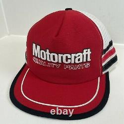 Rare Vintage Motorcaft 3 Stripe Trucker Hat Cap Snapback Fabriqué Aux États-unis Excellent