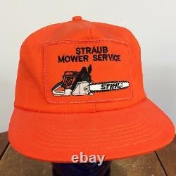 Rare Vintage Stihl Chaîne Saw Trucker Snapback Hat Cap K Produits Orange Mower