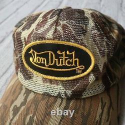 Rare Vintage Von Dutch Logo Arbre Camo De Camionneur De Maille Snapback Chapeau De Camouflage