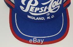 Vintage 1980 Pepsi Cola, Midland, Caroline Du Nord Snapback Trucker's Cap / Hat! Fabriqué Aux États-unis