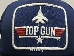 Vintage 1986 Top Gun Snapback Trucker Chapeau Bleu Marine Mesh 1985 USA Maverick
