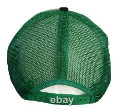 Vintage 3 Stripe Bar Trucker Hat Bass Fishing Snapback Green Mesh Cap Voir Desc