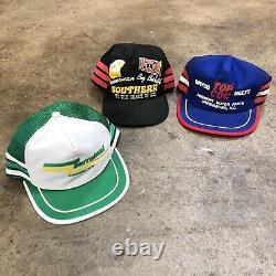 Vintage 3 Stripe Trucker Hat Snapback Cap Lot Vtg Maille Années 1980