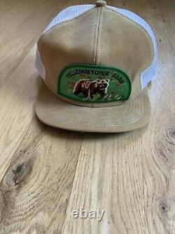 Vintage 70 80 Trucker Snap Back Hat Cap Suede Yellowstone Park K-produits